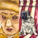 Miss Rosi und ihr Hund, Acryl auf Leindwand, 2-teilig, 2005