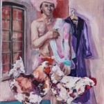 2 Gockel und ein Huhn, Acryl auf Leinwand, 100x70cm, 2012