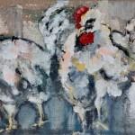 Hühner mit Frauenportrait, Acryl auf Leinwand, 40x120cm, 2013