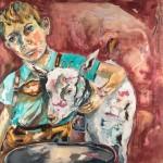 Memories Kindertage, der Junge und sein Zicklein Hieseken, Acryl auf Leinwand, 120x120cm, 2015
