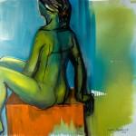 Begegnungen, Elocy auf orangefarbenem Hocker, Acryl auf Leinwand, 100x120cm, 2008
