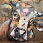 Stadl Kuh 4, Acryl auf Leinwand, 116x110 cm, 2017