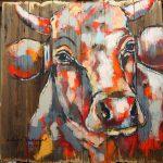 Stadl Kuh 5, Acryl auf Leinwand, 100x100 cm,  2017