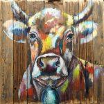 Stadl Kuh 6, Acryl auf Leinwand. 100x100 cm, 2017