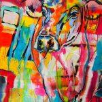 Colorful Cow, Acryl auf Leinwand, 70x100 cm, 2017