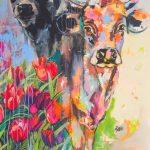 Happy Cows In The Tulip Field, Acryl auf Leinwand, 100x140 cm, 2018