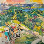 Blick vom Baumgarten zum See, Acryl auf Leinwand, 100 x 100 cm, 2019