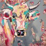 Kuh Hawaii, Acryl auf Leinwand, 100 x 100 cm, 2019