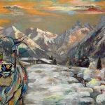 Alpenglühen, Acryl auf Leinwand. 100 x 120 cm, 2021